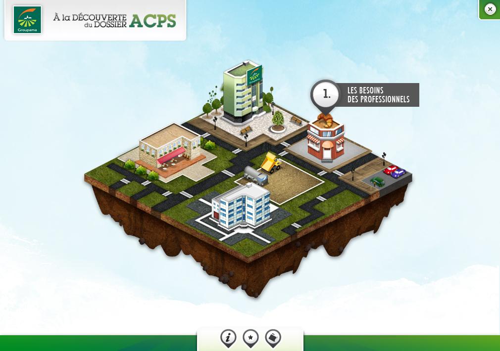 Charlotte Casters Groupama interface - map isométrqiue
